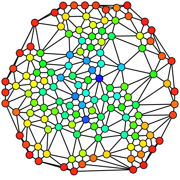 Color (from red=0 to blue=max) shows the node betweenness. Image downloaded from article <a href=