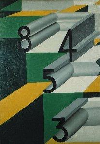 """""""Numeri innamorati"""" Giacomo Balla 1924, Olio su tela ,  cm 77 x 56, riproduzione in bassa qualità: cm 7.8 x 5.5"""