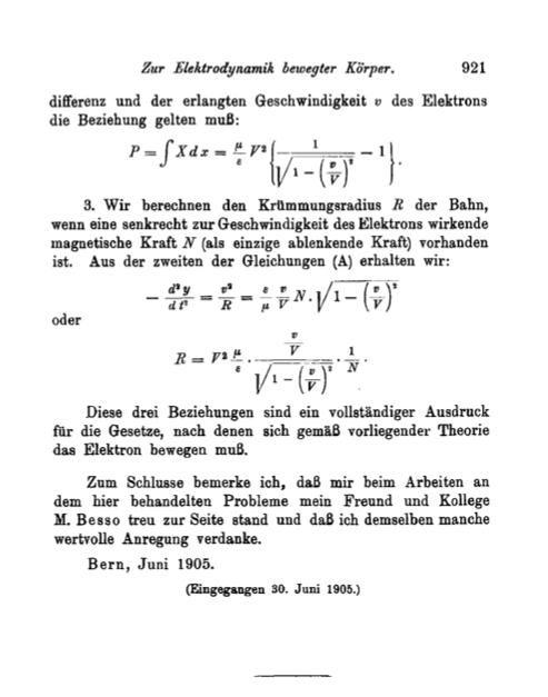"""Questa è l'ultima pagina dell'articolo che Albert Einstein scrisse nel 1905 sulla teoria della relatività ristretta: """"Zur Elektrodynamik bewegter Körper"""". Annalen der Physik 322 (10): 891–921."""