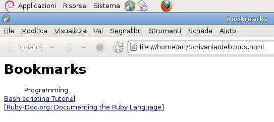 Immagine di un file di bookmark aperto con un browser