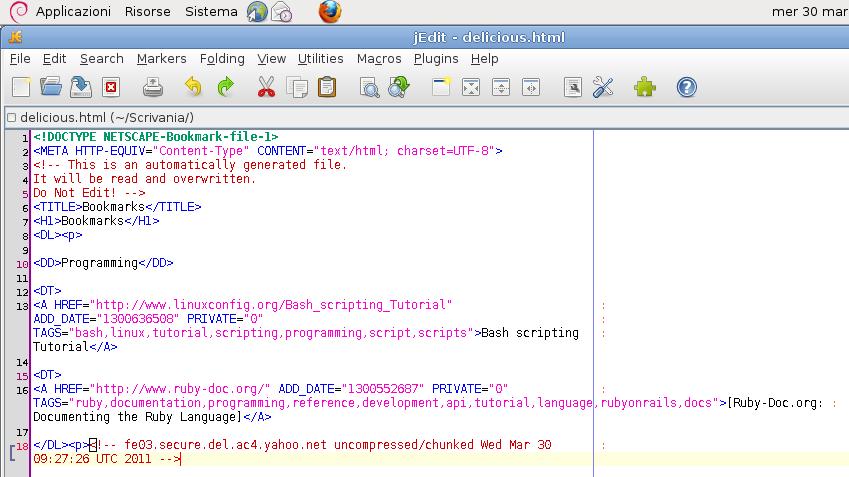 Immagine del codice html di un file di bookmark