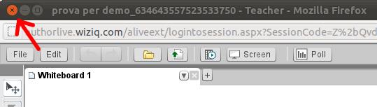 Posizione dell'icona di chiusura del browser
