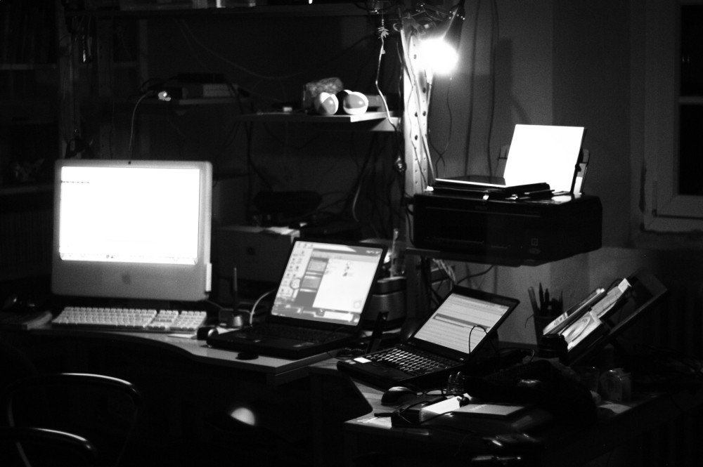 Foto dello studio la sera