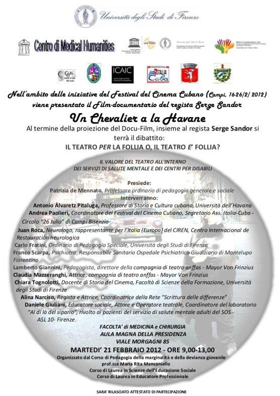 Locandina presentazione film-documentario Un cavaliere all'Avana di Serge Sandor