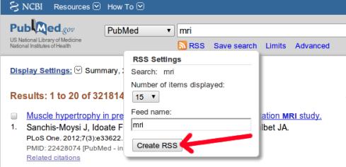 Costruzione feed RSS di una ricerca con PubMed