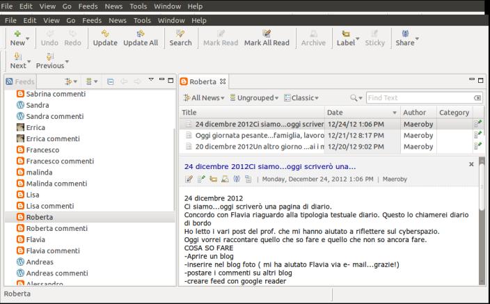 Screenshot del mio aggregatore di feedScreenshot del mio aggregatore di feed