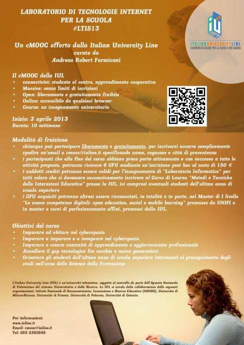 Locandina del connectivist Massive Open Online Course: Laboratorio di Tecnologie Internet per la Scuola - #LTIS13