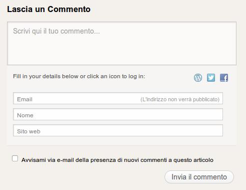 Cattura dell'immagine del box che serve a scrivere commenti in questo blog