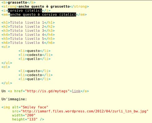 immagine di vari codici HTML