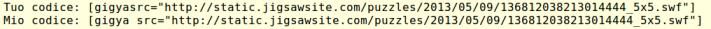 Immagine di due righe di codice per mostrare l'effetto della mancanza di uno spazio nell'embedding di un gioco in flash in WordPress