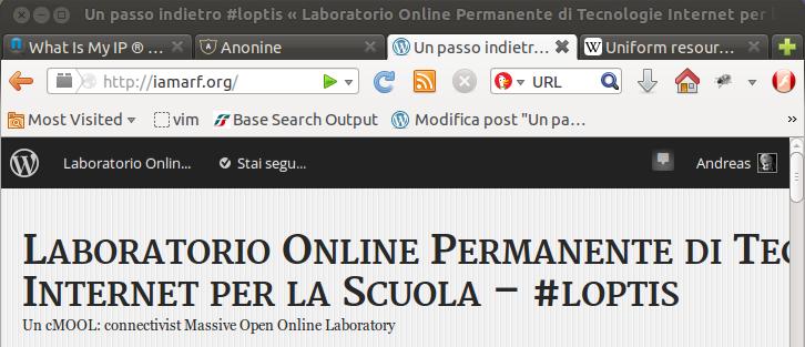 Sezione del browser con la casella per l'indirizzo URL: caso firefox 24 in gnu/linux ubuntu