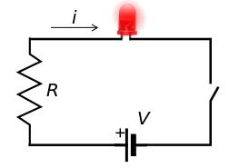 circuito elettrico di alimentazione di un led luminoso, sono specificati i simboli di corrente, tensione e resistenza elettrica