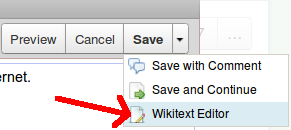 tasto wikitext editor in wikispaces
