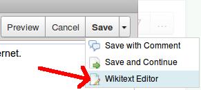 tasto wikitext editor in wikispaces