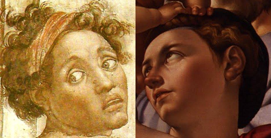 Confronto fra il volto dell'Ignudo di sinistra sopra la Sibilla Eritrea, nella Cappella Sistina e il volto della Madonna nel Tondo Doni, ambedue dipinti da Michelangelo Buonarroti.