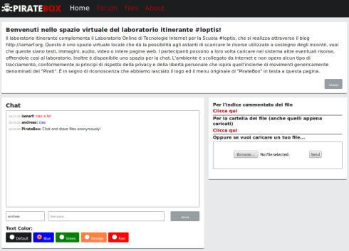 La schermata iniziale della PirateBox