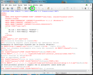 come appare la pagina in codice HTML