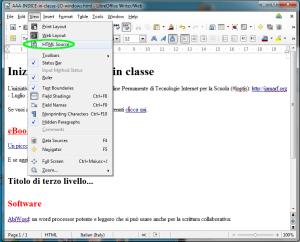 come andare alla versione in codice HTML attraverso il menu