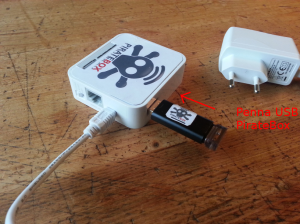 dove si deve mettere la penna usb piratebox