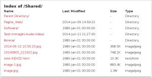 indice dello spazio di condivisione Shared dei file, memorizzati nella penna usb della piratebox
