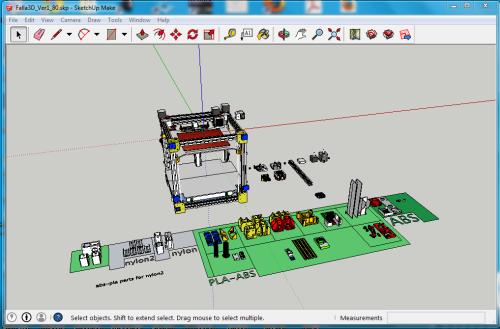 Modello della stampante 3D Falla costruito in SketchUp