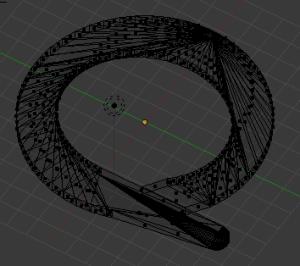 """""""Segnalibro"""" per il lavoro a maglia. Modellato con Blender. Immagine della mesh di punti che sottendono la superficie dell'oggetto."""
