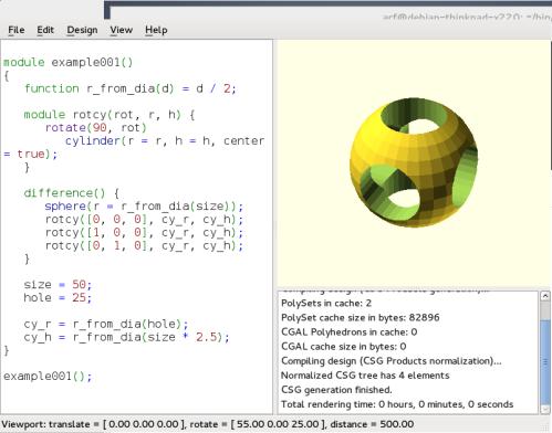 Esempio di produzione di una forma geometrica complessa con il software libero OpenSCAD.
