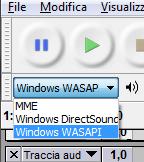 Opzione da selezionare per registrare l'audio di sistema in Audacity